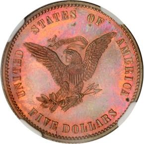 1861 J-283 $5 PF reverse