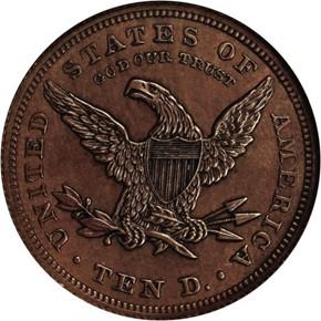 1861 J-287 $10 PF reverse