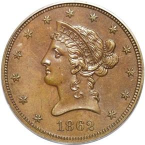 1862 J-298 $10 PF obverse