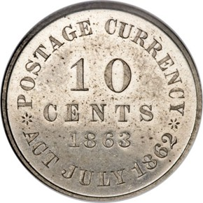 1863 J-330a 10C PF reverse