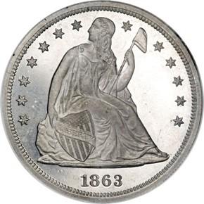 1863 J-347 S$1 PF obverse