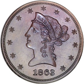 1863 J-352 BRONZED $10 PF obverse