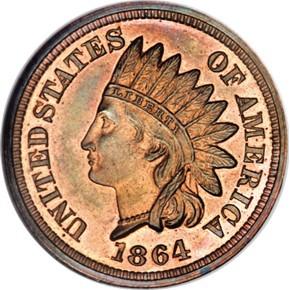 1864 J-356a 1C PF obverse