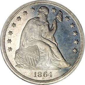 1864 J-398 S$1 PF obverse