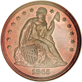 1865 J-435 S$1 PF obverse