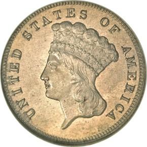 1865 J-443 $3 PF obverse