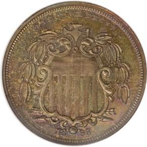 1866 J-499 5C PF obverse