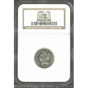 1867 J-566 5C PF obverse