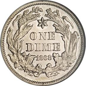 1868 J-641 10C PF reverse
