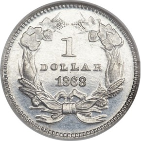 1868 J-653 G$1 PF reverse