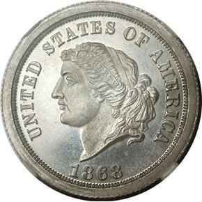 1868 J-658 $5 PF obverse