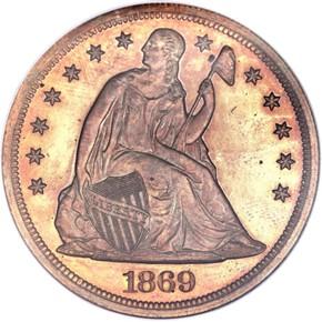 1869 J-763 S$1 PF obverse