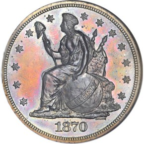 1870 J-1017 S$1 PF obverse