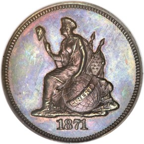 1871 J-1075 10C PF obverse