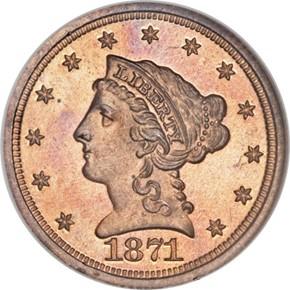 1871 J-1164 $2.5 PF obverse