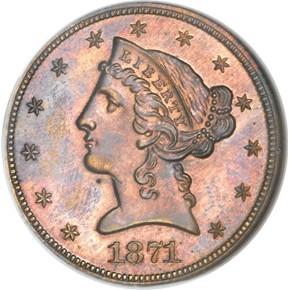 1871 J-1170 $5 PF obverse