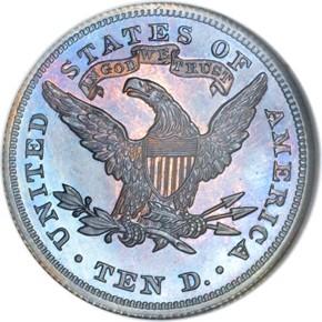 1871 J-1173 $10 PF reverse