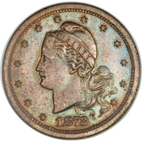 1872 J-1236 GILT $3 PF obverse