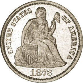 1873 J-1269 10C PF obverse