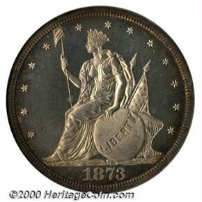 1873 J-1311 T$1 PF obverse