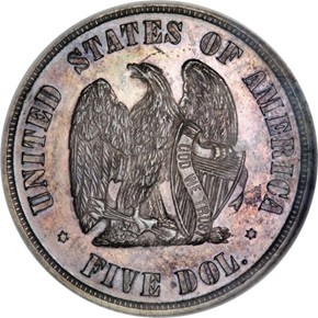 1873 J-1338 $5 PF reverse