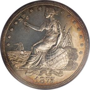 1875 J-1420 T$1 PF obverse