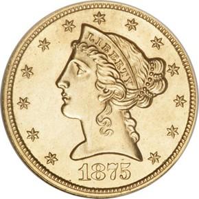 1875 J-1441 GILT $5 PF obverse