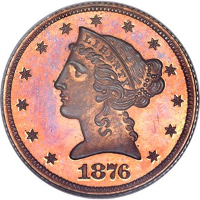 1876 J-1484 $5 PF obverse