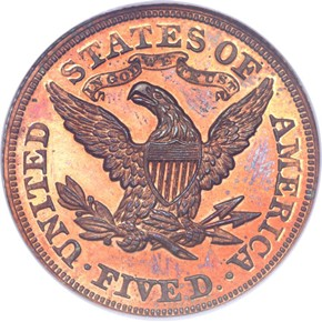 1876 J-1484 $5 PF reverse