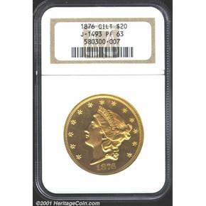 1876 J-1493 GILT $20 PF obverse