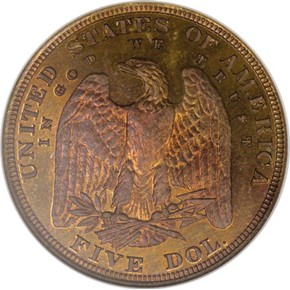 1878 J-1569 $5 PF reverse