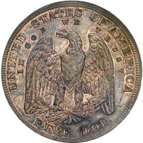 1878 J-1571 $5 PF reverse