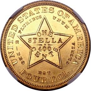 1879 J-1636 GILT $4 PF reverse