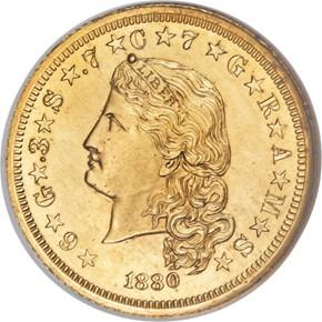 1880 J-1659 GILT $4 PF obverse