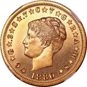 1880 J-1661 GILT $4 PF obverse