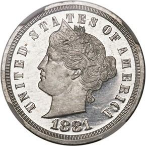 1881 J-1670 3CN PF obverse