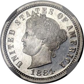 1881 J-1673 5C PF obverse