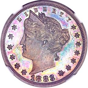 1883 J-1715 5C PF obverse