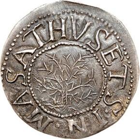 1652'IN'LEFT OAK TREE MASSACHUSETTS 1S MS obverse