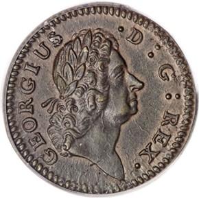 1722 'D.G.' ROSA AMERICANA 1/2P MS obverse
