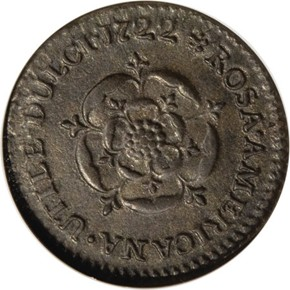 1722 'DEI GRATIA' ROSA AMERICANA 1/2P MS reverse