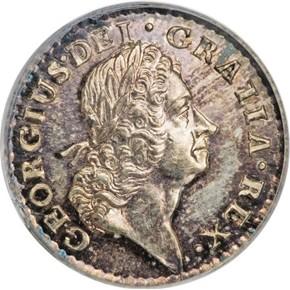 1723 SILVER HIBERNIA 1/4P MS obverse