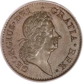 1722 HARP LEFT HIBERNIA 1/2P MS obverse