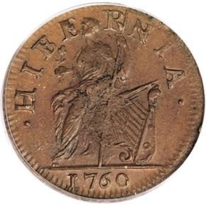 1760 NO 'P' 'VOOE' HIBERNIA-VOCE POPULI 1/2P MS reverse
