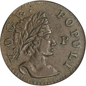 1760 'P' IN FRONT HIBERNIA-VOCE POPULI 1/2P MS obverse