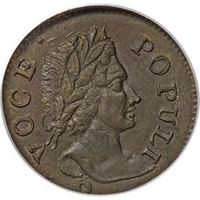 1760 'P' BELOW HIBERNIA-VOCE POPULI 1/2P MS obverse