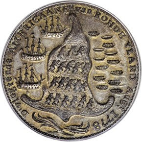 1779 RHODE ISLAND WREATH BELOW SHIP TOKEN MS reverse