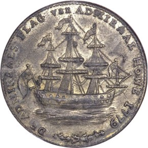 1779 RHODE ISLAND WREATH BELOW - PEWTER TOKEN MS obverse