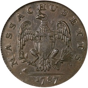 1787 HORNED EAGLE MASSACHUSETTS 1C MS reverse