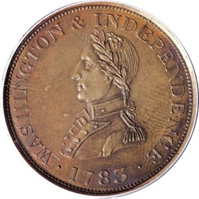 1783 GR EDGE SMALL BUST WASHINGTON & INDEPENDENCE MS obverse